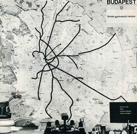 Távlati gyorsvasúti hálózat 1977-ből. Még a kis felbontás ellenére is látszik, hogy a végállomás nem Káposztásmegyeren, hanem Rákospalotán lett volna